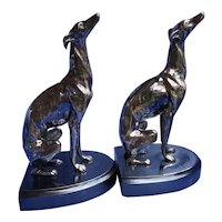 """1920s silver Whippet Italian Greyhound JB dog bookends 10"""" Jennings Brothers"""