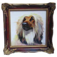 1950s Afghan Hound Rosenthal ooak hand painted dog plaque