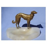 solid bronze Borzoi Austria marked 5""