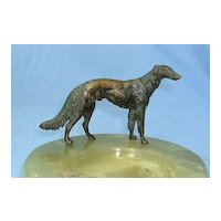BORZOI authentic art deco Austria solid bronze dog marked