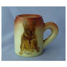 1900s  hand painted French bulldog Handel glass match holder Bauer