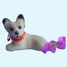 "antique Fripon Fox terrier salon dog BLEUETTE companion French fashion doll Germany label 2"""