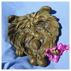 "bronze BRUSSELS GRIFFON Victorian card tray dog 5"""