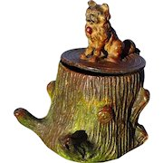 """antique Brussels Griffon Norwich terrier dog inkwell Heyde Germany 3"""""""