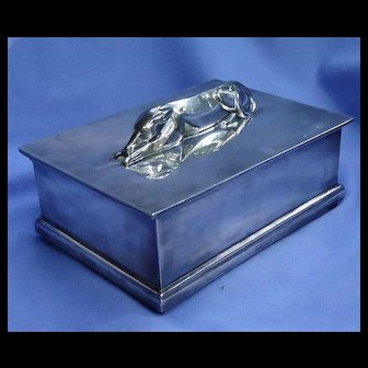 art deco Whippet Italian Greyhound dog silver plt cigarette box Barbour