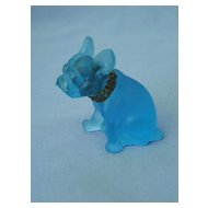ice blue glass French Bulldog 3""