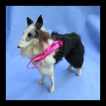 "Antique fur Borzoi  7"" salon dog Kestner Jumeau fashion doll Germany companion AS IS"