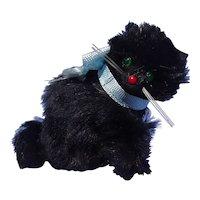 "old black fur cat French fashion doll Germany 3"""