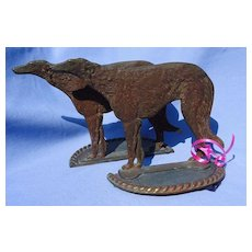 bronze Borzoi bookends 9""