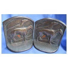 bronze Borzoi bookends 5""