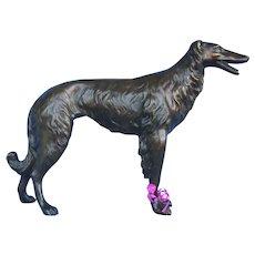 """1950s bronze Borzoi 15"""" dog"""