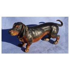 """antique bronze black tan Dachshund dog from Vienna Austria 5"""""""