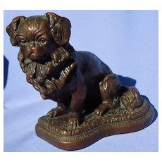 bronze Pekingese Tibetan Spaniel bookend doorstop dog 8""