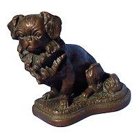 """bronze Pekingese Tibetan Spaniel bookend doorstop dog 8"""""""