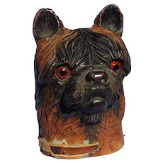 """antique Brussels Griffon Norwich terrier Black forest dog inkwell 5"""""""
