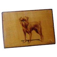 antique Brussels Griffon hand painted dog match box holder