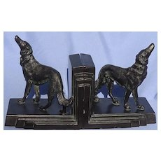 1930 bronze Borzoi bookends Ronson