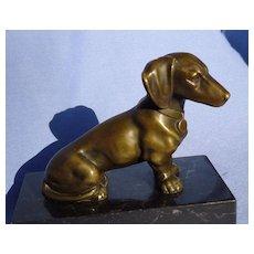 """vintage bronze Dachshund dog on marble base 5"""""""