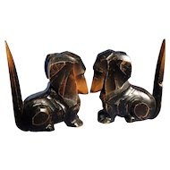 1945 black tan Dachshund wood bookends Germany
