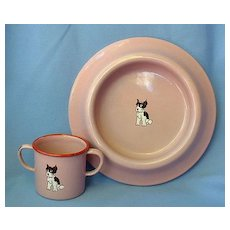 1930 Germany Boston terrier French bulldog enamel dog dish set