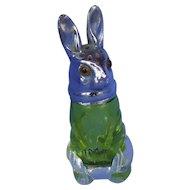 "Rabbit green glass silver top salt shaker bunny 3"""