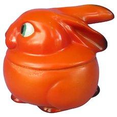 art deco  orange Bunny tobacco jar Germany rabbit