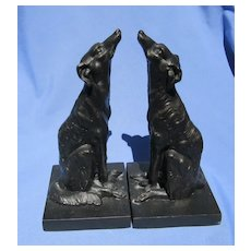 "Borzoi bronze bookends 9"" dog"