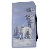 vintage blue Borzoi card deck