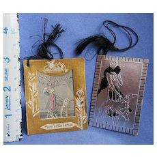 art deco Borzoi and lady bridge score cards (group3)