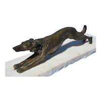 "11"" bronze Borzoi running on white marble"