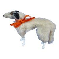 "Antique fur Borzoi 3"" salon dog Kestner Jumeau Bru French fashion doll companion Germany"