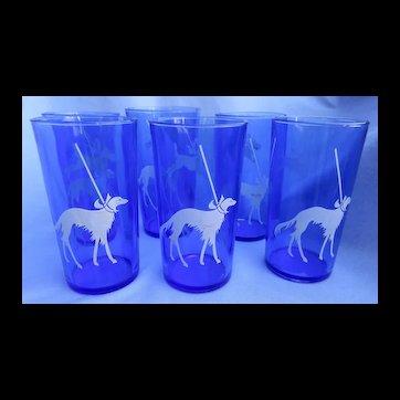 6 Borzoi Boston Scottish terrier Pekingese scotty dog cobalt blue glasses Hazel Atlas