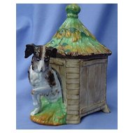 1890s tobacco jar Cavalier King Charles spaniel dog w house 8""
