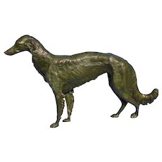 1930s bronze Borzoi Jennings Brothers JB dog 17""