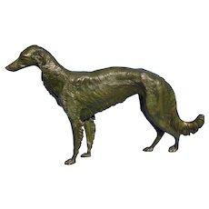 """1930s bronze Borzoi Jennings Brothers JB dog 17"""""""