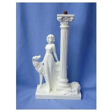 """vintage lady and 2 Borzoi lamp 12"""""""