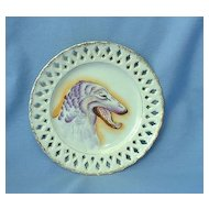 1960s Borzoi hand painted  plate