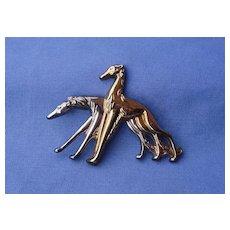 "Monet sterling silver Borzoi Saluki pin 3"""