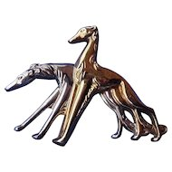 Monet sterling silver Borzoi Saluki pin 3""