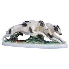 """Borzoi 18"""" running pair Austria Thomasch Goldscheider dog"""