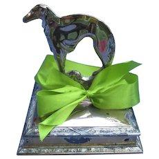 """art deco silver plt 5"""" Borzoi jewelry box  Weidlich Bros #678"""