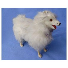 antique candy container Spitz Samoyed salon dog French fashion doll Germany mark 7""