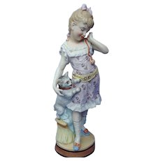 """15"""" cat w girl  Victorian bisque Heubach Germany"""