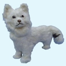 "antique 12"" German candy container Spitz Samoyed fur dog French fashion doll"
