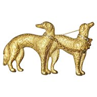 Borzoi pair pin Carolee