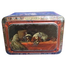 Cavalier King Charles Spaniel Scottish Deerhound Landseer dogs Colmans mustard tin