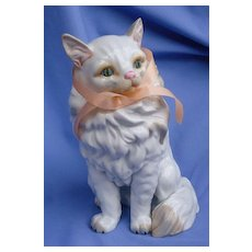 "10"" white Angora Persian cat Dresden model from MUSEO"