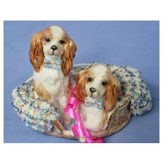 """Cavalier King Charles Spaniel Dresden lace 4"""" dogs"""