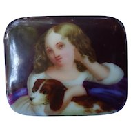Cavalier King Charles Spaniel w Victorian girl porcelain cameo