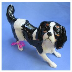 Cavalier King Charles Spaniel Royal Doulton England 1980s black/tan dog 7""